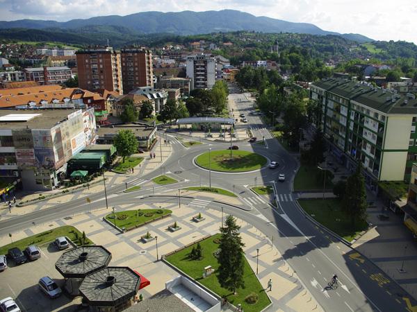 Central roundabout in Loznica - Vuka Karadžića Square